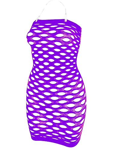 Womens Mesh Chemise Dress Fishnet Lingerie Babydolls Nighties Mini Dress Black (purple0)