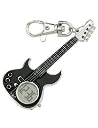 JAS Unisex Novelty Belt Fob/Keychain Watch Electric Guitar Silver Tone