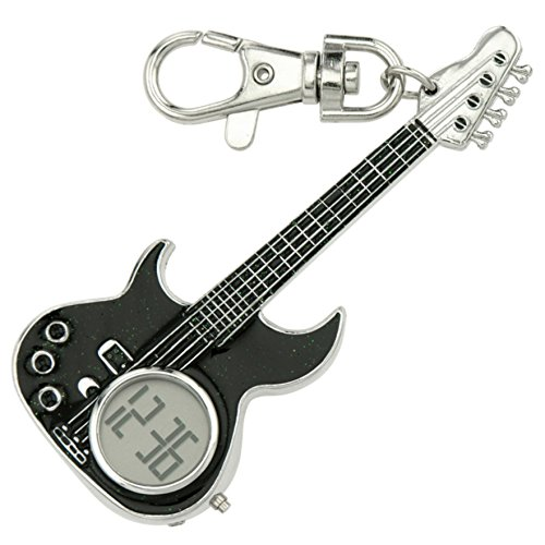 JAS Unisex Novelty Belt Fob/Keychain Watch Electric Guitar Silver Tone