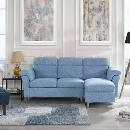 Casa Andrea Milano Modern Linen Fabric Sectional Sofa - Small Space Couch  (Light Blue)