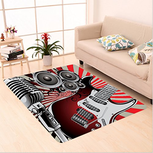 Sunburst Contemporary Area Rugs (Nalahome Custom carpet thers Day Music Old Fashion Speaker Loudspeaker Picture Sunburst Striped Background Red and Grey area rugs for Living Dining Room Bedroom Hallway Office Carpet (6.5' X 10'))