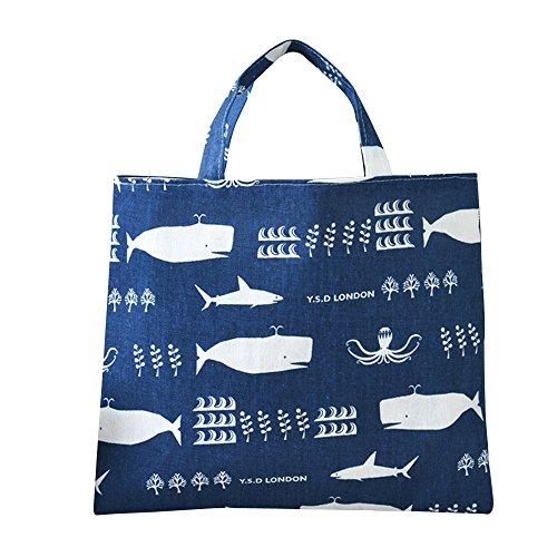 Caixia Women's Cotton Cartoon Whale Print Canvas Tote Shopping Bag (Octopus-blue/No closure/Square tote (Medium Square Tote)
