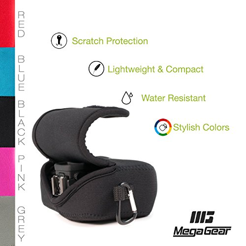 MegaGear ''Ultra Light'' Neoprene Camera Case Bag with Carabiner for Canon G16, G15, Sx170, Sx160, SX720, SX710, SX700, Sony DSC-HX50, DSC-HX60V cameras (Black)