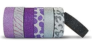 AIM HOBBIES Washi Masking Tape Set of 6 PLUS FREE BONUS ROLL (Glitter 1)