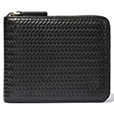 RFID Men's Leather Zipper wallet Zip Around Wallet Bifold Multi Card Holder Purse (Embossing Black)