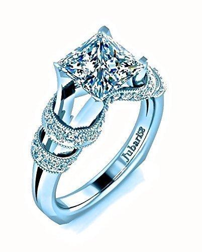 c29491019 ... Princess Cut Diamond Engagement Ring Antique-Deco Custom Milgrain  Beaded Ribbon Split Euro Shank 18K White Gold Jubariss Designer Handmade  Fine Jewelry
