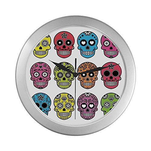 C COABALLA Skull Simple Silver Color Wall Clock,Ornate Colorful Traditional Mexian Halloween Skull Icons Dead Humor Folk Art Print for Home Office,9.65