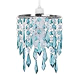 MiniSun - Elegant Chandelier Design Ceiling Pendant Light Shade With Beautiful Teal And Clear Acrylic Jewel Effect Droplets