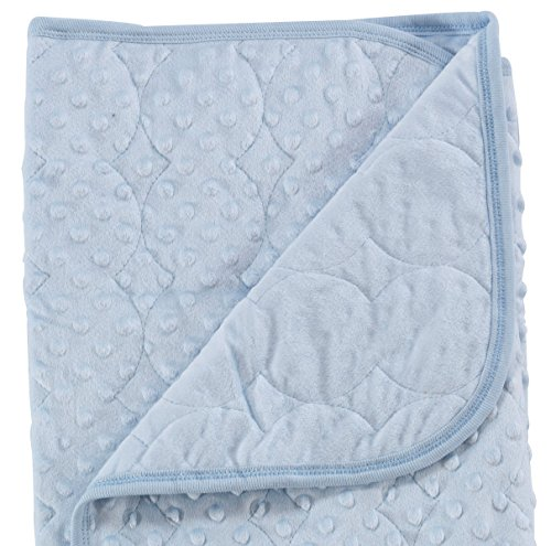 Quilted Newborn Baby Girl Boy Blanket Swaddling Receiving Wrap Snuggle Security Crib Stroller Car, Plush Extra Thick Thermal Warm Double Layer Ultra Soft Breathable Polka Dots for Infant Toddler, Blue (Plush Boys Bear Angel Blanket)