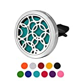 HOUSWEETY Circle Car Air Freshener Aromatherapy Essential Oil Diffuser Locket With Vent Clip - 11 Refill Pads