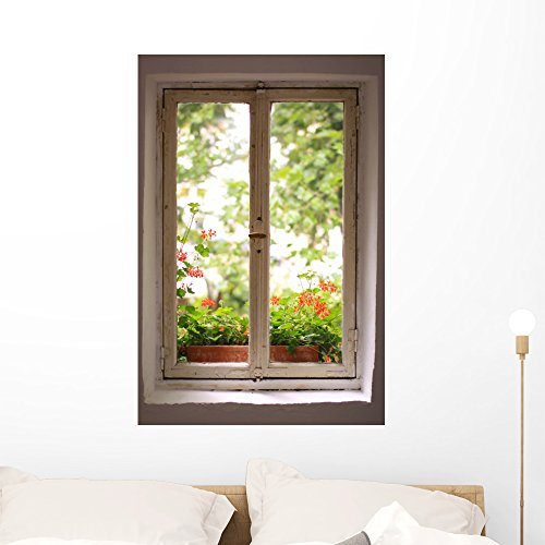 Wallmonkeys WM199818 Window to The Garden Wall Decal Peel and Stick Graphic (36 in H x 24 in W)