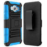 Grand Prime Case, Galaxy Grand Prime Holster case, SGM (TM) Hybrid Dual Layer Combo Armor Defender Protective Case With Kickstand + Belt Clip Holster For Samsung Galaxy Grand Prime (Blue)