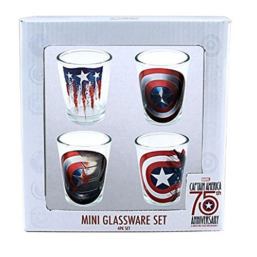 Marvel Captain America Set of 4 Mini Glassware Set Shot Glasses 75th Anniversary
