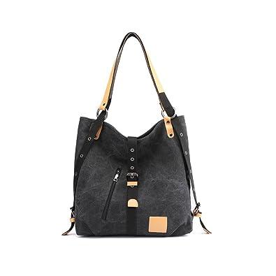 78a8814f7 Amazon.com: Mufly Women Shoulder Bag,Fashion Backpack,Canvas Multifunctional  Casual Rucksack Handbag Crossbody Casual Travel Tote Bag(Black): Shoes