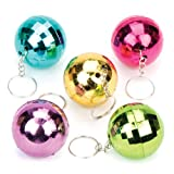 Disco Glitter Ball Keyrings For Kids Fun-Packed Halloween Toys At Pocket Money Prices - Perfect Party Bag Fillers For Children (Pack of 6)
