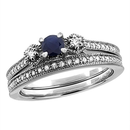 14K White/Yellow Gold Diamond Natural Blue Sapphire 2pc Engagement Ring Set Round 4 mm, sizes 5 – 10