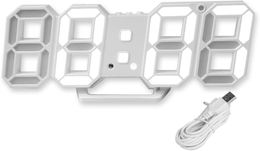 PlumRiver 3D LEDデジタル 時計 ウォールクロック