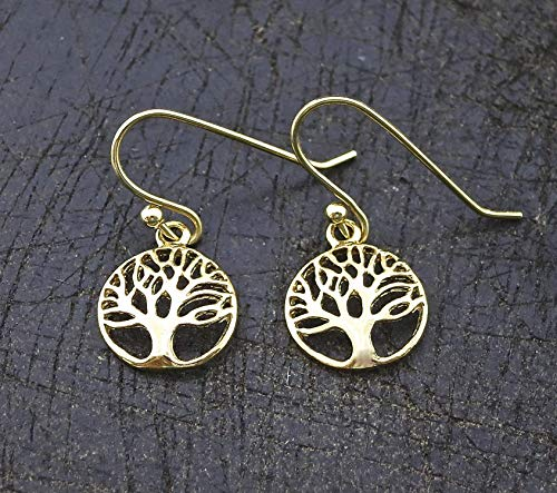 Gold Dangle Tree of Life Earrings, Dainty, Everyday Gold Plated Drop Earrings for Women and Girls, Handmade Bohemian Jewelry