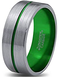 Tungsten Wedding Band Ring 8mm for Men Women Green Silver Flat Center Line Pipe Cut Brushed Polished Lifetime Guarantee