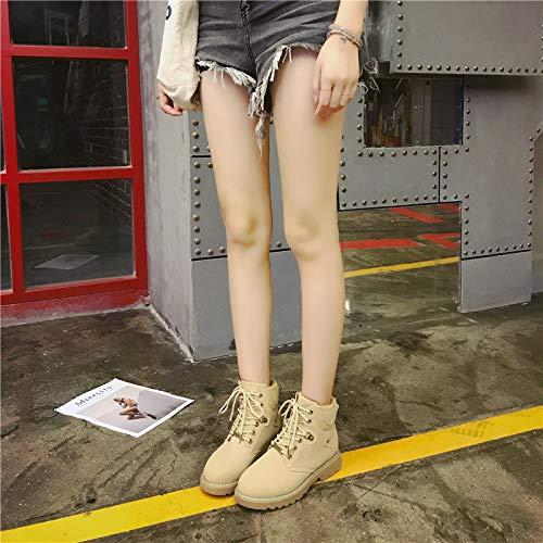 Botines Retro Wind De Street con Gruesos Zapatos Botines Invierno De Zapatos Combate Beige Senderismo1460 Trabajo Botas De NANXIE Zapatos Cordones Señoras Martin Altos Deportivos De Mujer para RwEXwY