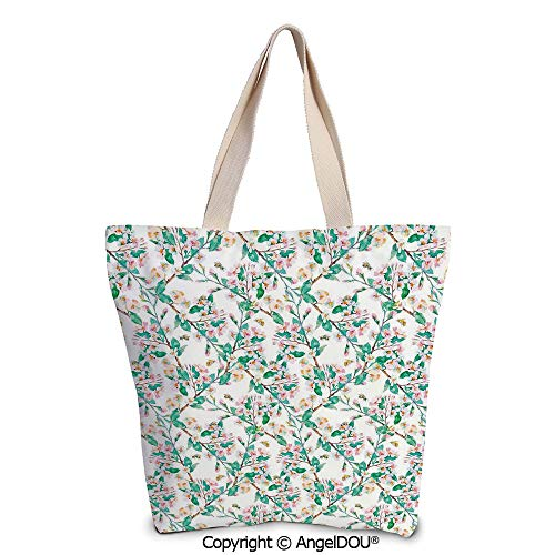 SCOXIXI Flower Large Ladies Canvas Shoulder Bags Shopping Bag Pink Cherry Bloss ()