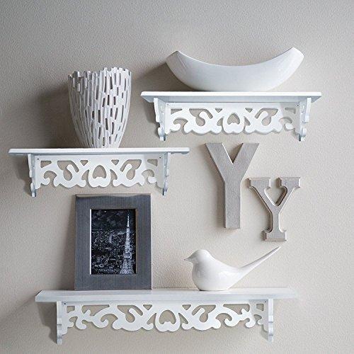 Homezone® Set Of 3 Shabby Chic Style Floating Wall Shelves Bookshelf White Wall  Mounted Decorative