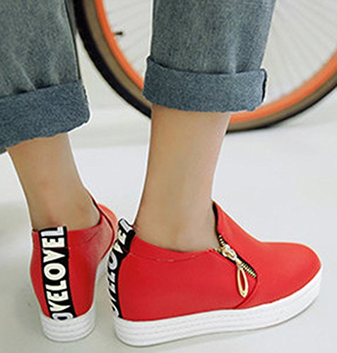 On Zipper Heel Sneakers Hidden Slip Casual Wedge IDIFU Platform Loafers Mid With Womens Red qwF7zn40