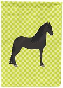 Caroline tesoros del bb7741chf Friesian caballo verde lienzo casa bandera, Multicolor