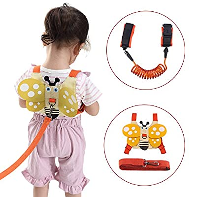 Hautoco Baby Anti Lost Wrist Link Toddler Leash+Baby Safety Walking Harness, Kid Baby Toddler Walking Assistant Learning Walk Safety Reins Harness Walker Wing(2 Pack)