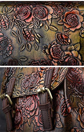 voyage luxe féminin véritable Cire rose d'école femmes sac sac vachette dos fleuri sac cuir de en huile relief en dos Café de Y4q4xRwaCg