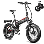51yaaAMh5 S. SS150 Fafrees Bicicletta Elettrica Pieghevole da 20 Pollici 750W Shimano 7S, Batteria Panasonic 48v 13.6AH, 45Km/h di Velocità Massima, Portata Massima 90Km, Mountain Bike per Adulti Fat Tire
