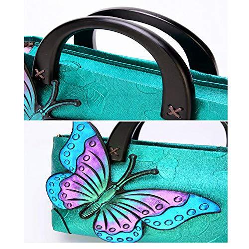 12 Vintage 5 Mariposa Verde Pintada Étnico Señora Estilo Mano Bolso 29cm Pink De 17 Bandolera A qAYxg7P