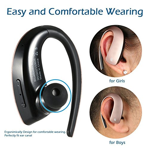 Bluetooth Headset Stereo Music Bluetooth Earphone Wireless Headphone Voice Command with Microphone for Android IOS iPhone 7 6 Plus 5S LG Samsung S8 Plus S7 S6 S5 Tablets and Other Bluetooth Devices by TopePop (Image #3)