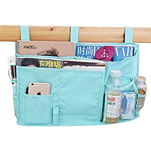 QCHOMEE 8 Pockets Bedside Storage Caddy Oxford Hanging Organizer Student Dormitory Baby Bed Bedroom Bunks Bed Holder Baby Cot Stroller Cup Book Magzine Storage Pouch Bag