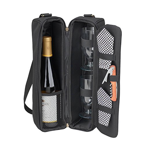 Picnic at Ascot - Deluxe Insulated Wine Tote with 2 Wine Glasses, Napkins and Corkscrew - Black