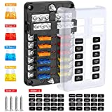 electop 12-way blade fuse block, 12 circuits with negative bus fuse box  holder