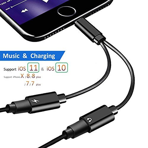 Dual Lightning Adapter for iPhone 8, Tomory Lightning Adapter for iPhone 7, 2 in 1 Aux Headphone Adapter for iPhone, Support Call, Charging and Music Control (Black)