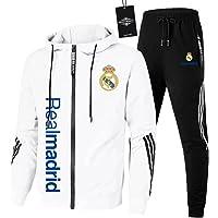 JesUsAvila de Los Hombres Chandal Conjunto Trotar Traje Real-Madrid Hooded Zipper Chaqueta + Pantalones Deporte Sudadera…