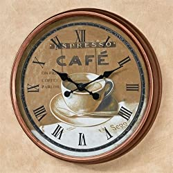 Touch of Class Coffee Time Wall Clock Copper