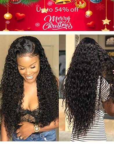 Remy Human Hair Wigs Brazilian Water Wave Front Half LaceWigs with Baby Hair for Black Women Gluessless 22inch Only Hair Size Not Including the Cap Size, Reach to Under Brest