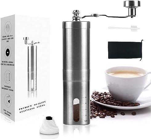 Kaffeemühle Edelstahl Espressomühle mit Keramik-Kegelmahlwerk Handkaffeemühle
