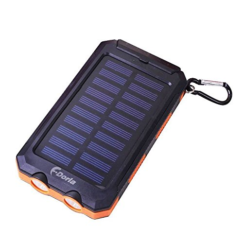 F.Dorla 20000mAh Power Bank Solar Charger Waterproof Portable External Battery USB Charger Built in LED light with Compass for iPad iPhone Android cellphones, 9 Colors Avaliable (Black +Orange)