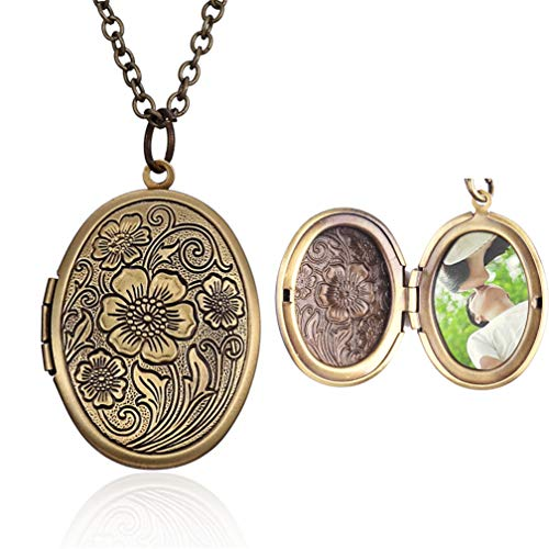 4EAELove Oval Locket Pendant Necklace Antique Bronze Flower Carved Charm Picture Necklace
