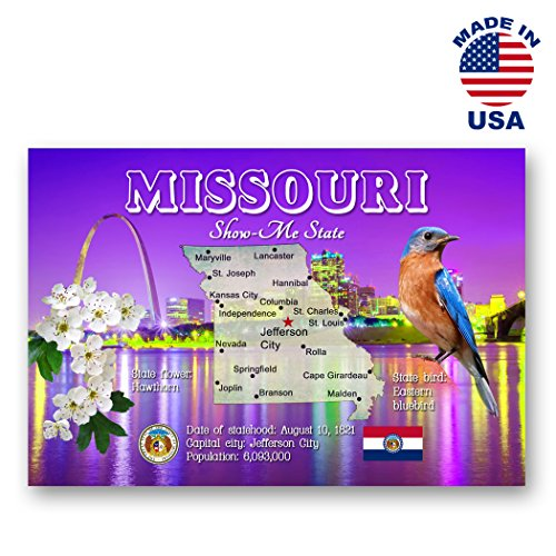 Postcard Missouri - MISSOURI MAP postcard set of 20 identical postcards. MO state map post cards. Made in USA.