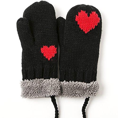 出席ナインへ英語の授業があります[ラバブル] Heart Boa Mitten 手袋 アクリル【25cm×10cm 5色】秋冬 防寒 レディース 子供用 グローブ