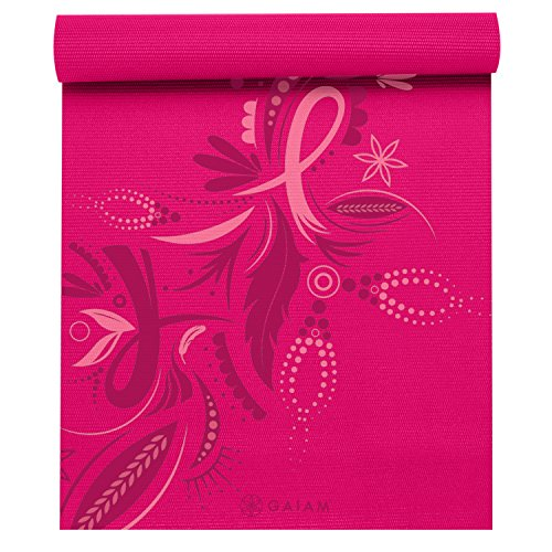 Gaiam Print Yoga Mat, Forever Pink Ribbon III, 3mm