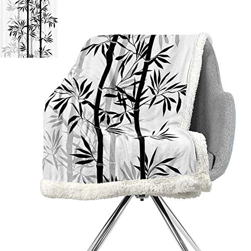 ScottDecor Tree of Life Flannel Bed Blankets,Silhouette of Spiritual Bamboo Tree Leaves Japanese Zen Feng Shui Boho Image,Black White,for Bed,Couch,Sofa,Chair,W59xL47 Inch ()