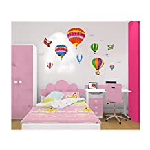 Best Quality Adhesive Rooms Walls Vinyl DIY Stickers / Murals / Decals / Tattoos / Transfers For Kids Playrooms / Nurseries With 7pcs Hot Air Balloons And 2pcs Aeroplanes / Planes Designs In Many Different Colours By VAGA