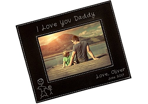 Personalized I Love Daddy Picture Frame - Fathers Day Gift, Gifts for Dad, New Dad Gift, Custom Vegan Leather Photo Frame - FVL27