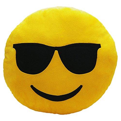 [PrimeCuts Premium Quality 35cm Cool Sunglasses Emoji Pillow - Soft Smiley Emoticon Stuffed Plush Toy - Sunglasses] (Dollar Jumbo Glasses)